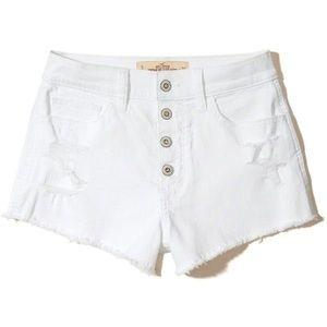 White High-Rise Short-Short Button Up Shorts